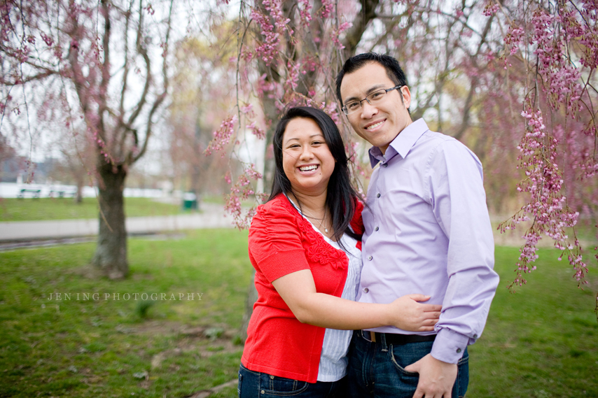 Esplanade engagement session in Boston, MA - couple laughing