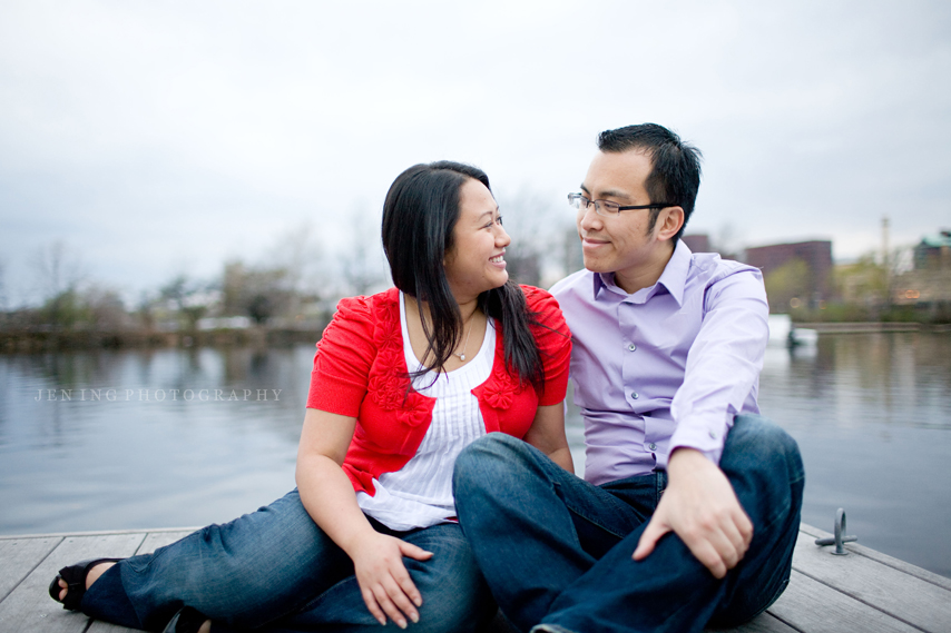 Esplanade dock engagement shoot in Boston, MA - couple sitting