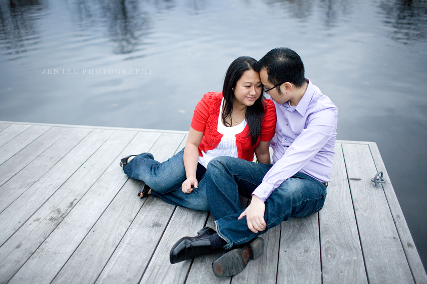 Boston engagement session on the Esplanade - couple on dock
