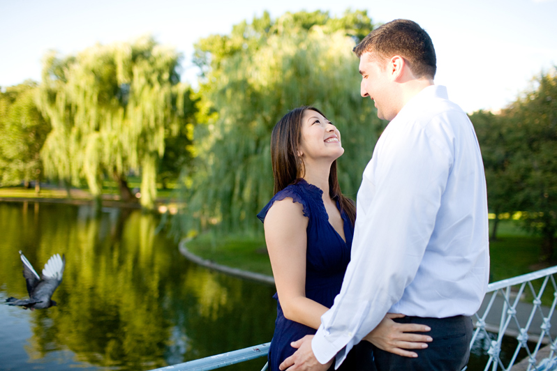 Public Garden engagement session - couple on bridge