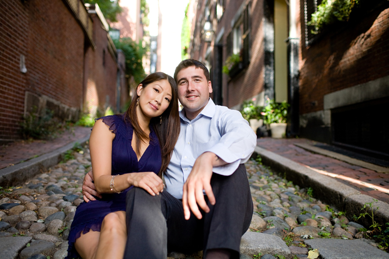 Beacon Hill engagement session - couple on cobblestone