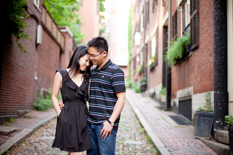 beacon hill red brick alley engagement