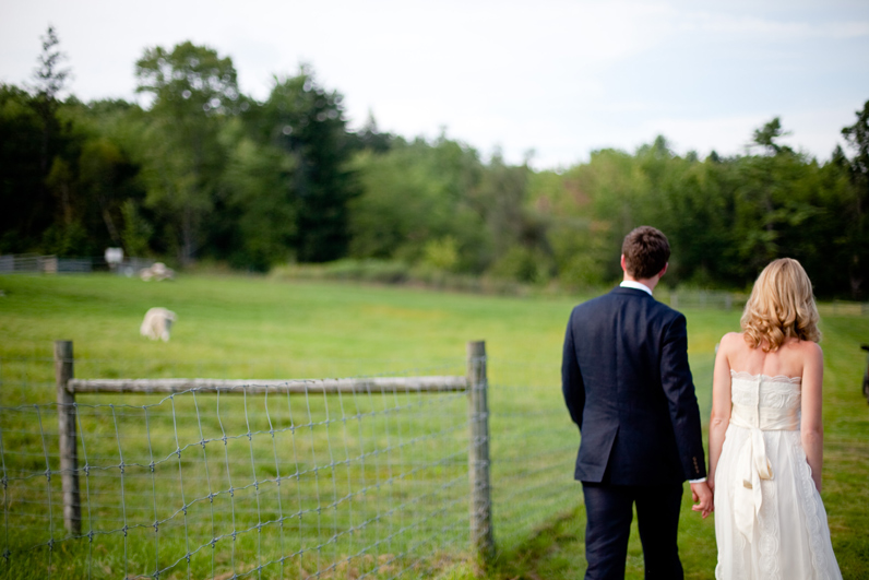 bride and groom at a farm wedding