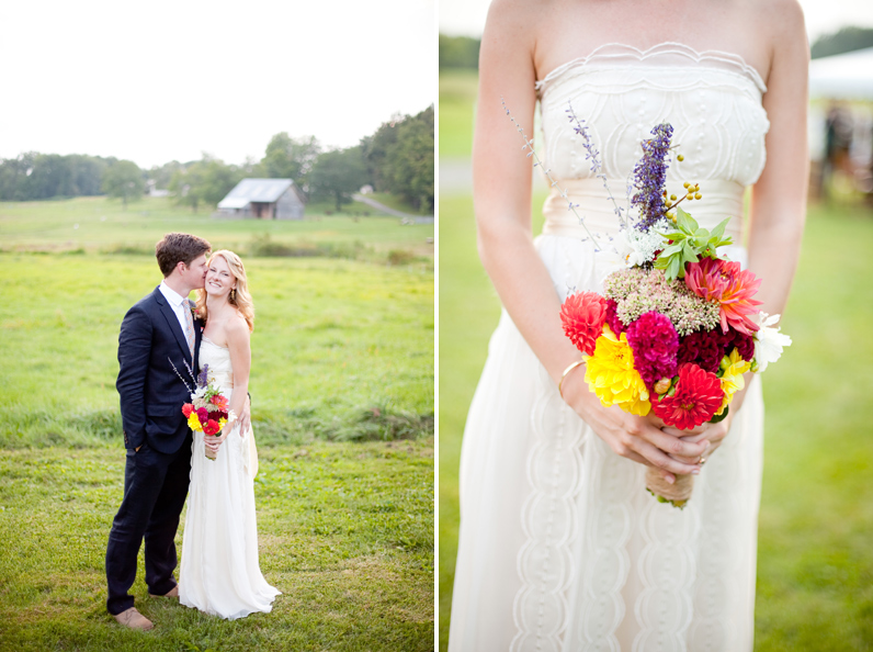 Bramble Hill wedding - bride and groom with rustic bouquet