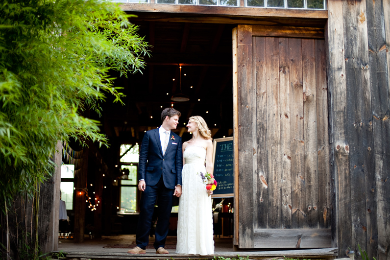 barn wedding - bride and groom in Amherst, MA