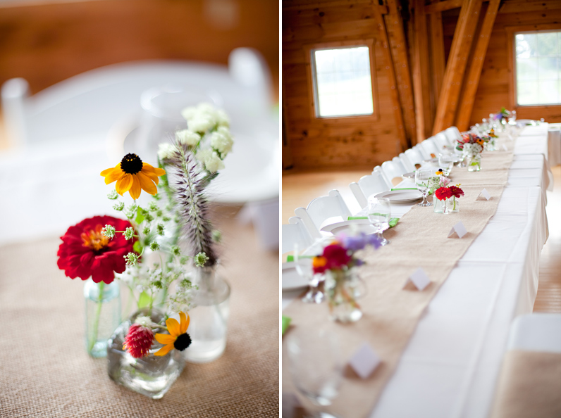 handmade floral centerpieces and table runners - Barn wedding