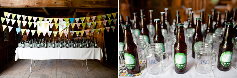 home-brewed beer wedding favors