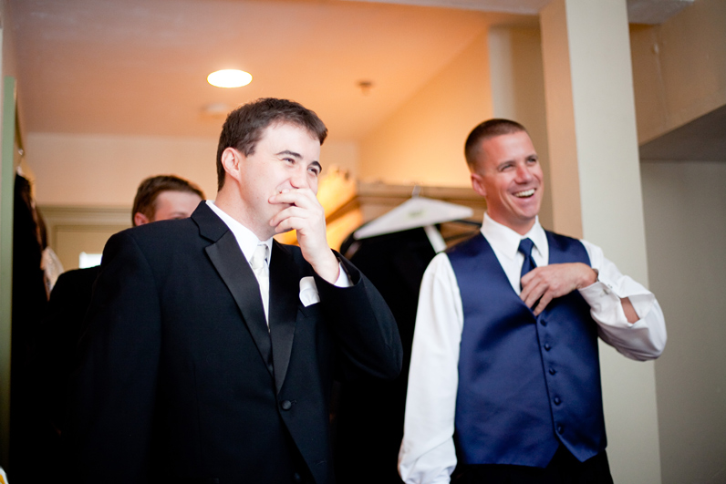 boston wedding - groom laughing