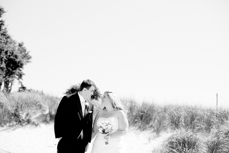 beach wedding bride and groom portraits