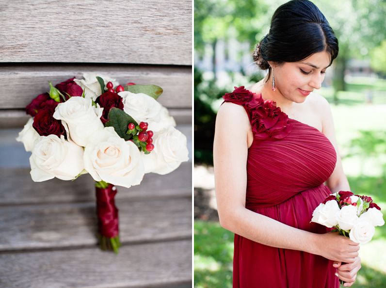 red bridesmaid and bouquet
