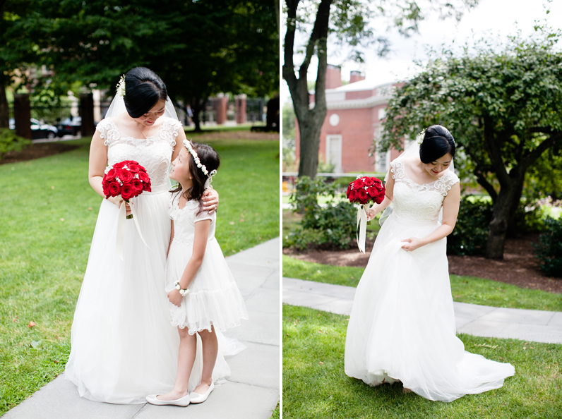 bride with flower girl in cambridge ma
