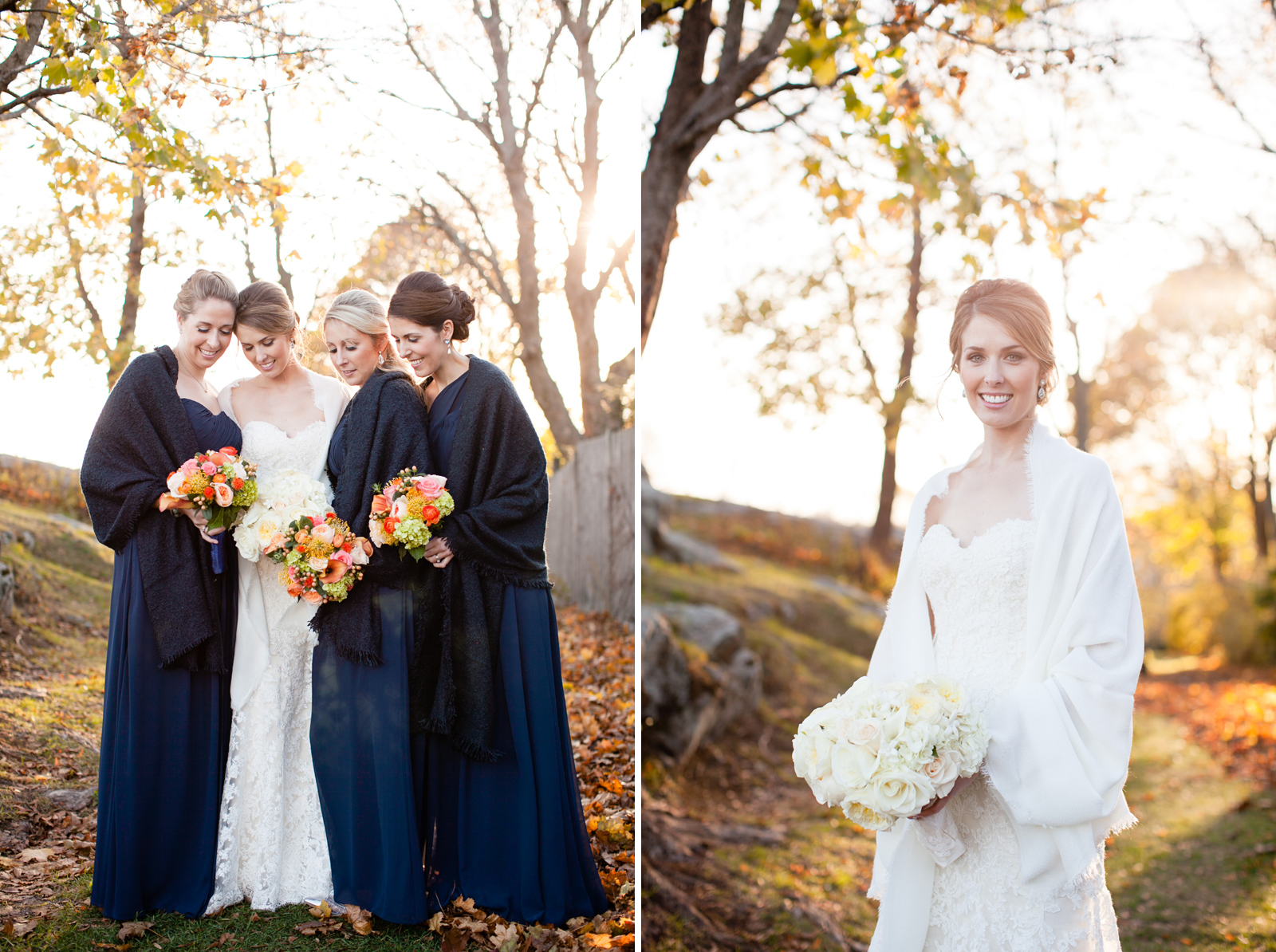 fall bridesmaids in new england