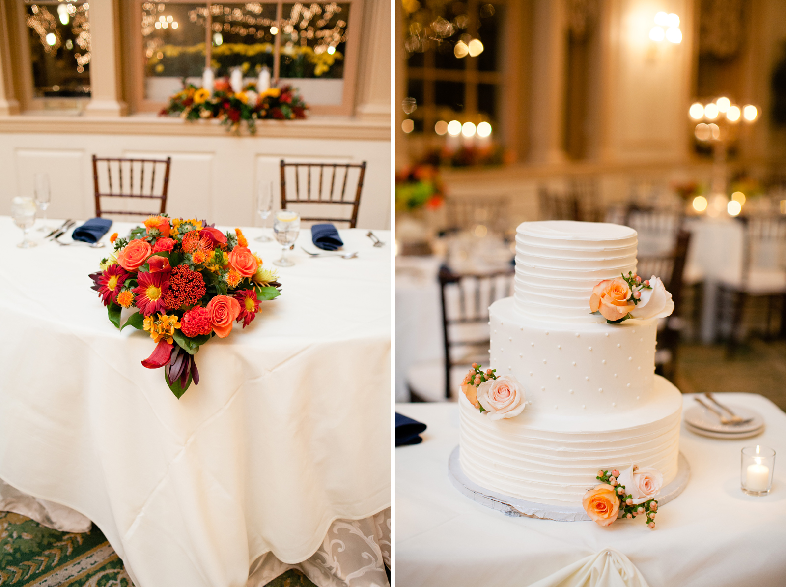 fall centerpieces and cake for new england wedding