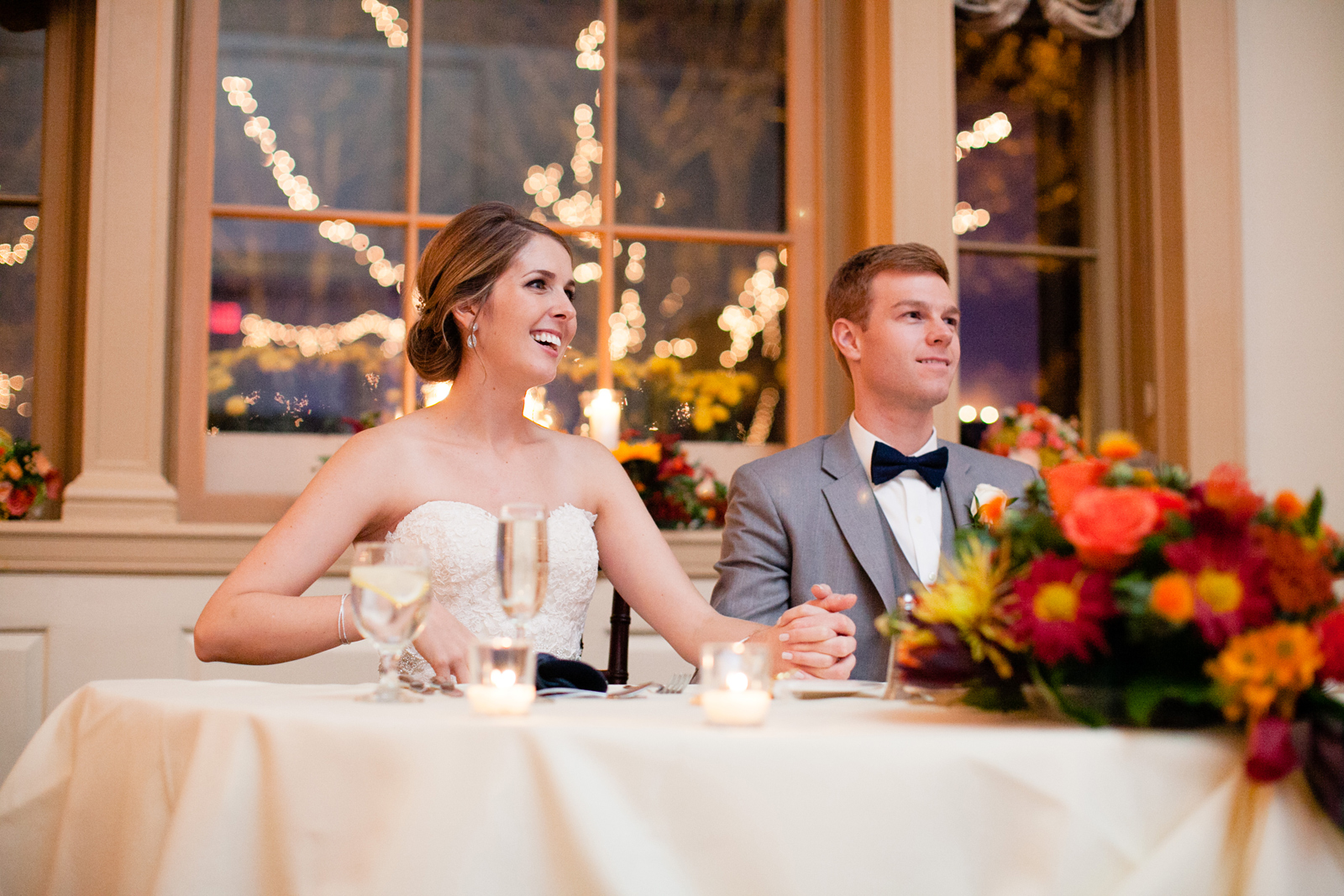wedding toast reactions from bride and groom