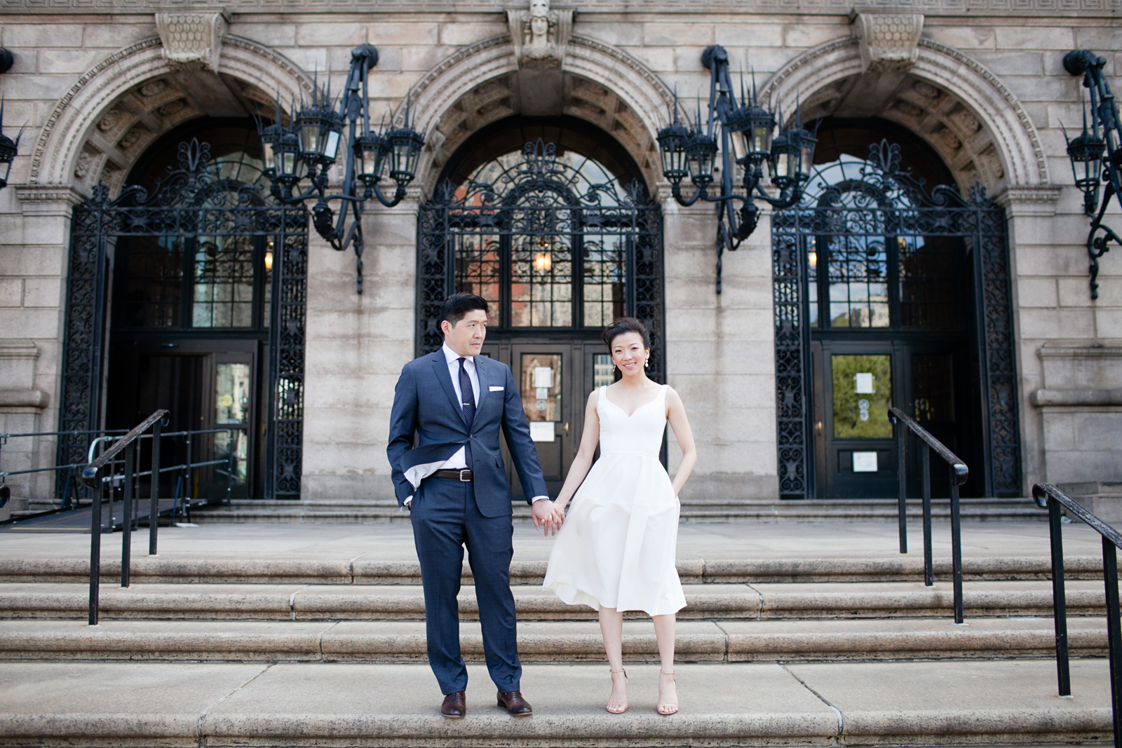 bride and groom at the boston public library