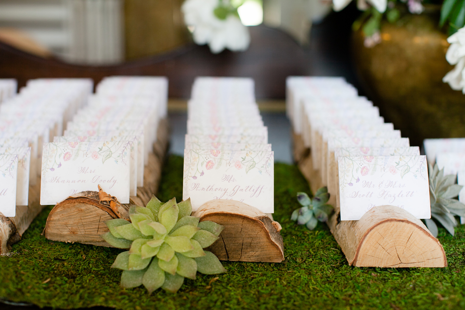 rustic escort cards with succulent