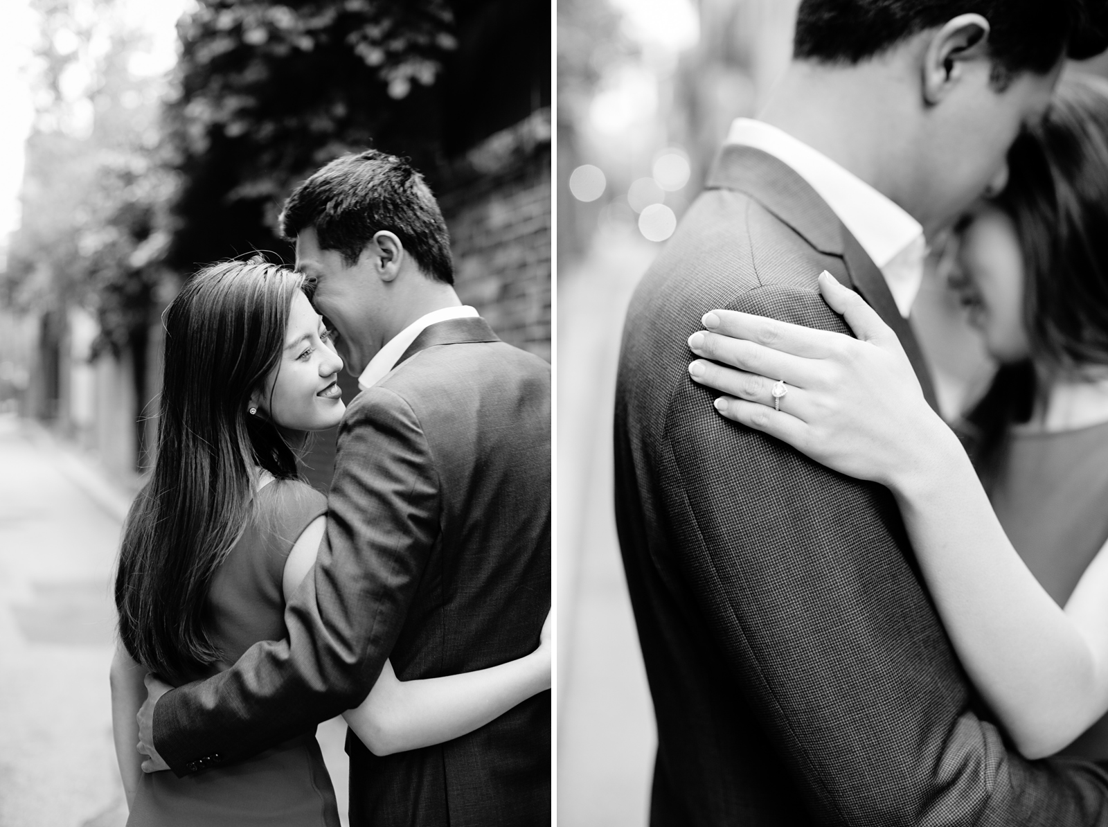 boston black and white engagement session