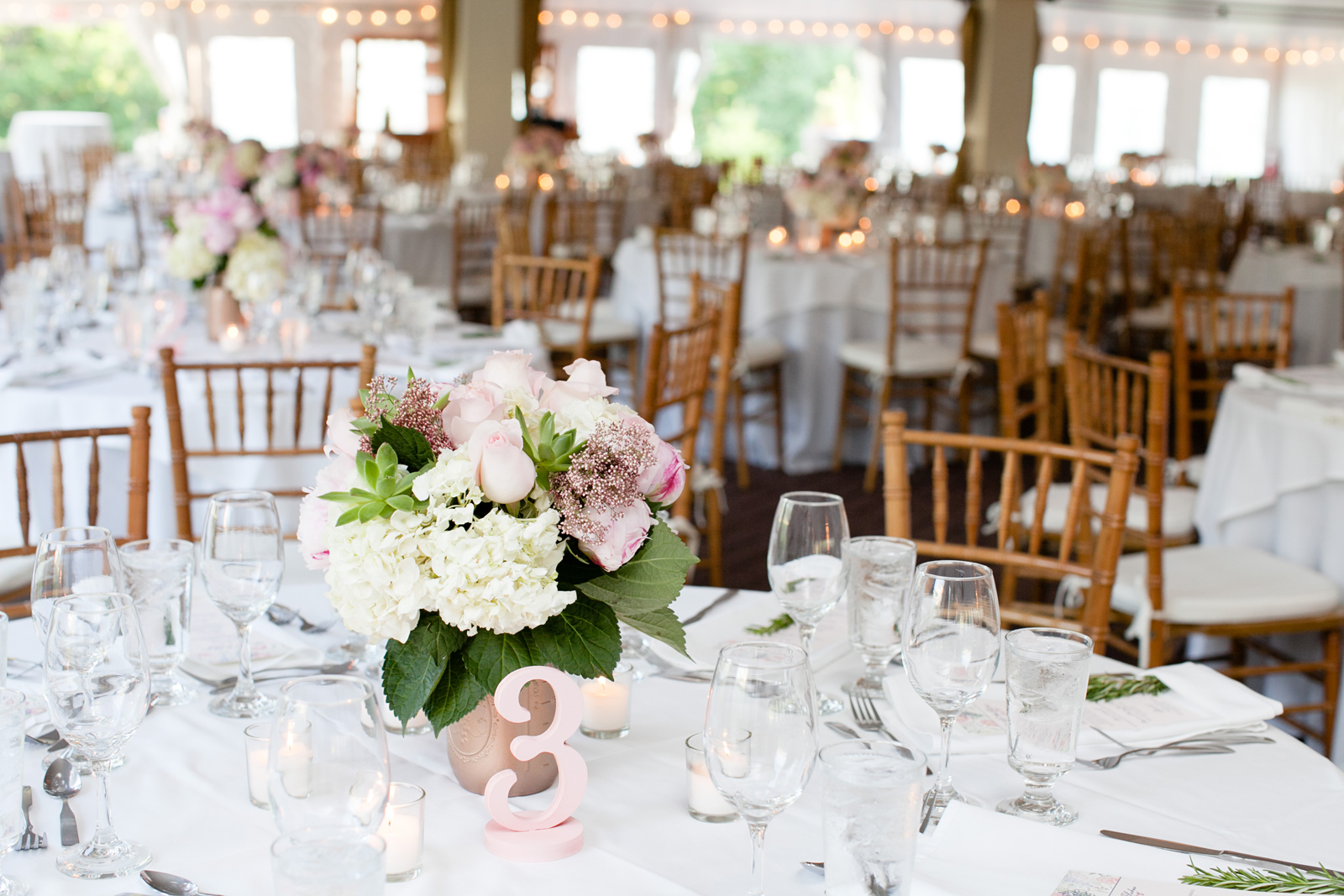 new england tented wedding - blush and gold