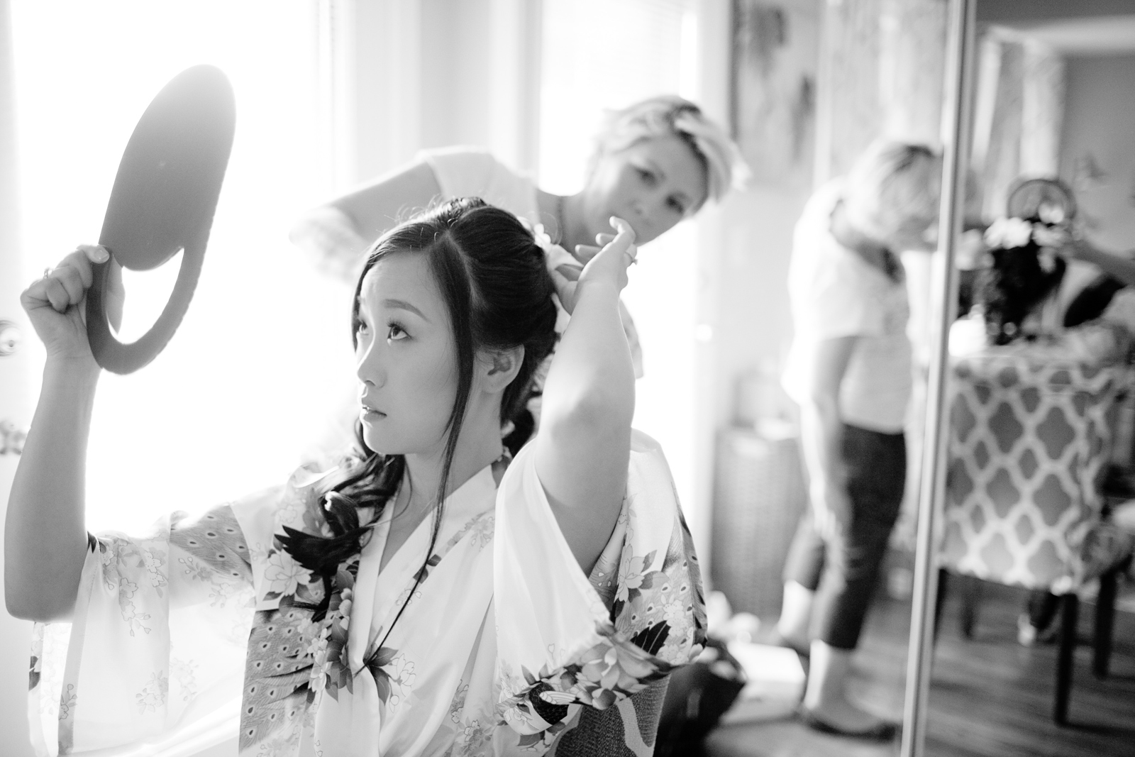 classic bride getting ready