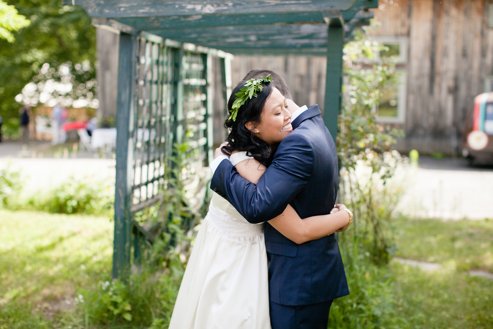 first look at outdoor wedding