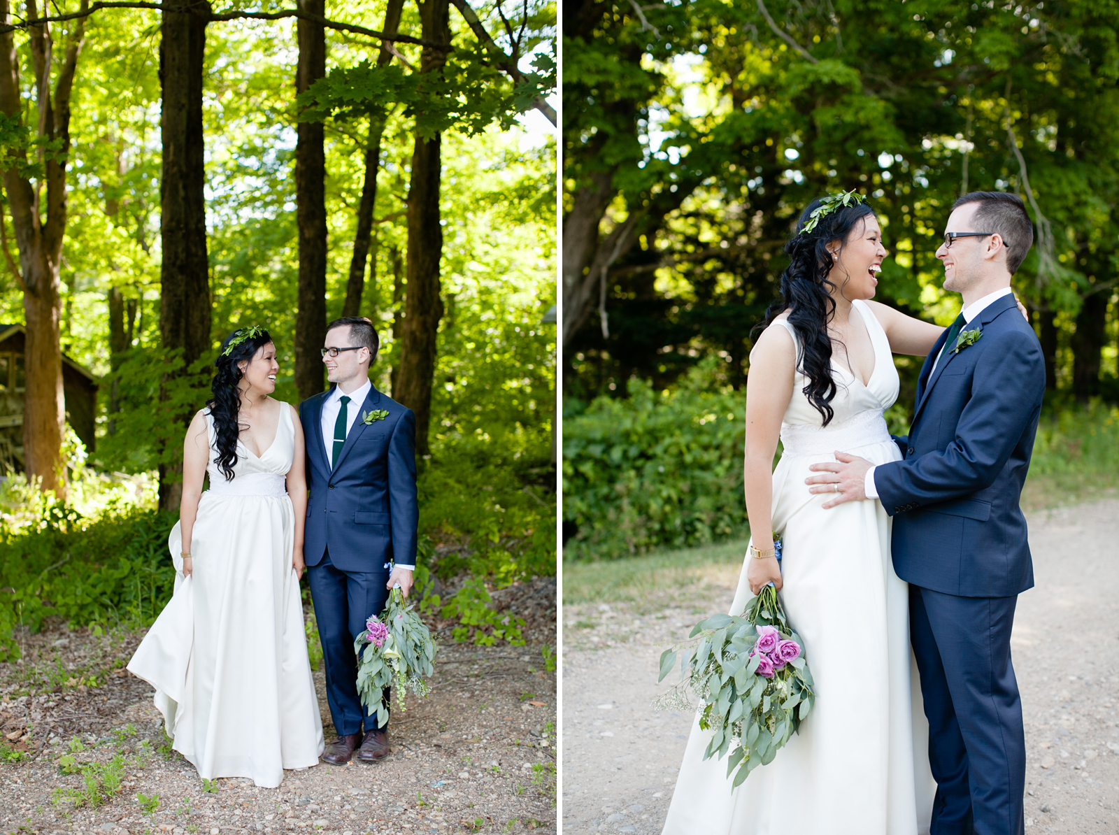 outdoor western mass wedding in the forest
