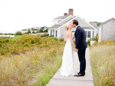 bride and groom in coastal chatham bars inn